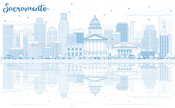 Outline Sacramento Skyline with Blue Buildings and Reflections. - Buildings Objects