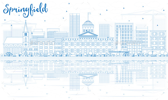 Outline Springfield Skyline with Blue Buildings and Reflections. - Buildings Objects
