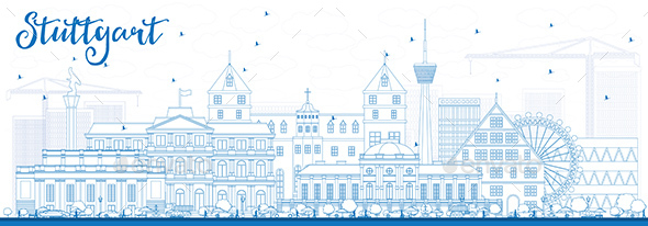 Outline Stuttgart Skyline with Blue Buildings. - Buildings Objects