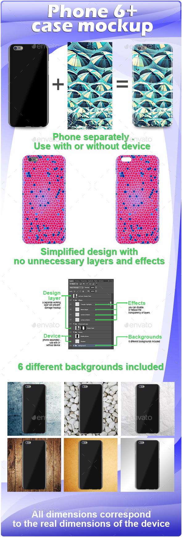 Phone 6 plus Case Mockup - Miscellaneous Print