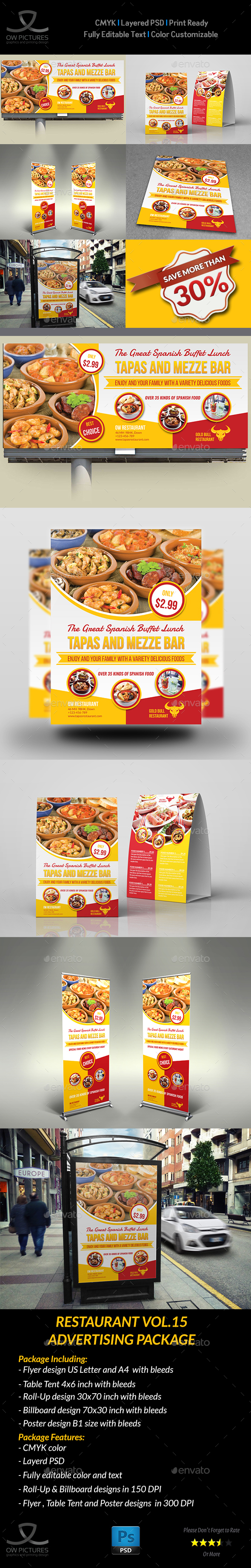 Restaurant Advertising Bundle Vol.15 - Signage Print Templates