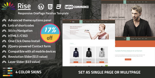 Rise | One page Parallax WordPress Theme - Portfolio Creative