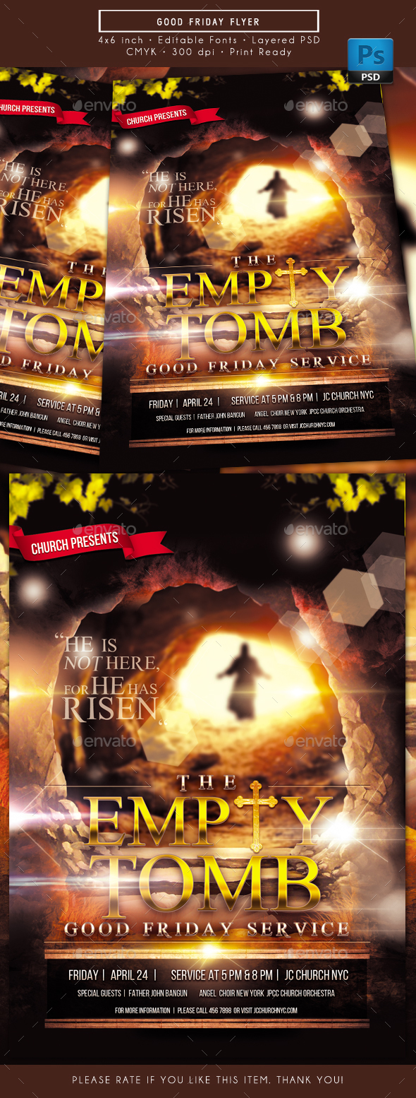The Empty Tomb Good Friday Flyer - Church Flyers
