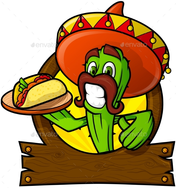 Sympathetic Cactus With a Mexican Taco - Food Objects