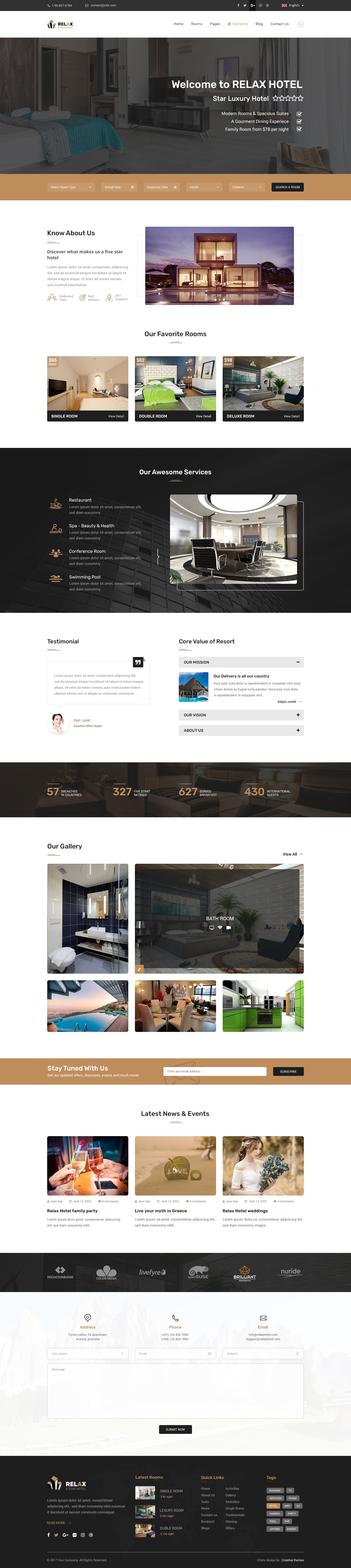 Hotel Relax for Reservation, Resort and Spa PSD Template by XaraThemes