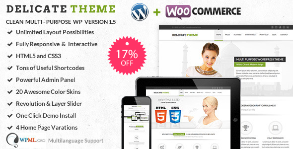Delicate | Clean Multi-Purpose WordPress Theme - Corporate WordPress