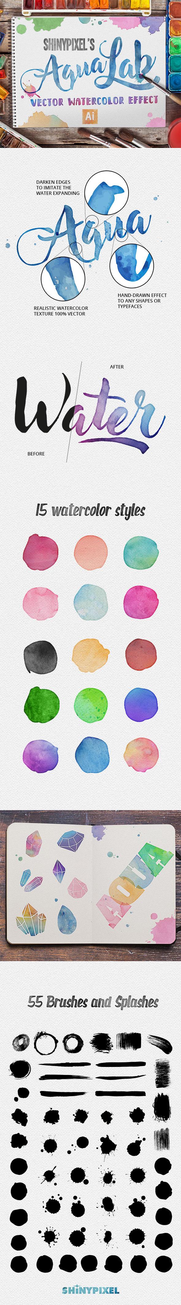 AquaLab - Adobe Illustrator Watercolor Effect - Textures / Fills / Patterns Illustrator