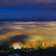Day to night timelapse of foggy city during sunset - VideoHive Item for Sale