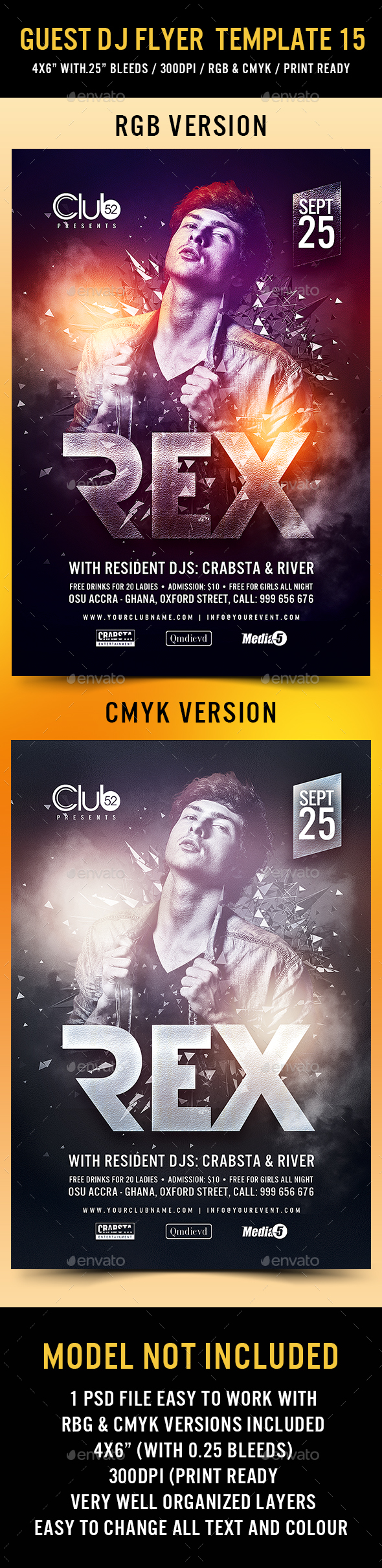 Guest DJ Flyer Template 15 - Clubs & Parties Events