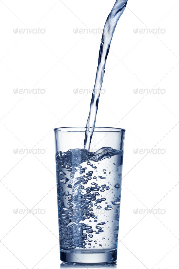 water pouring into glass isolated on white - Stock Photo - Images