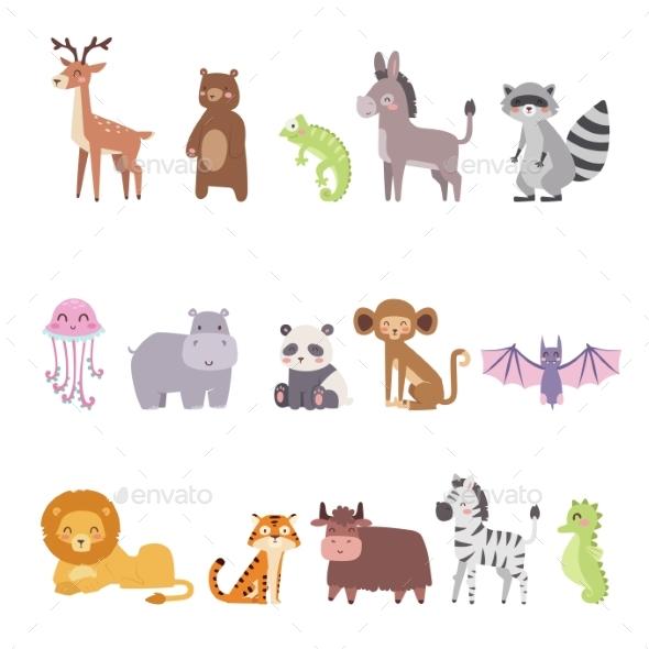 Zoo Cartoon Animals Isolated - Animals Characters