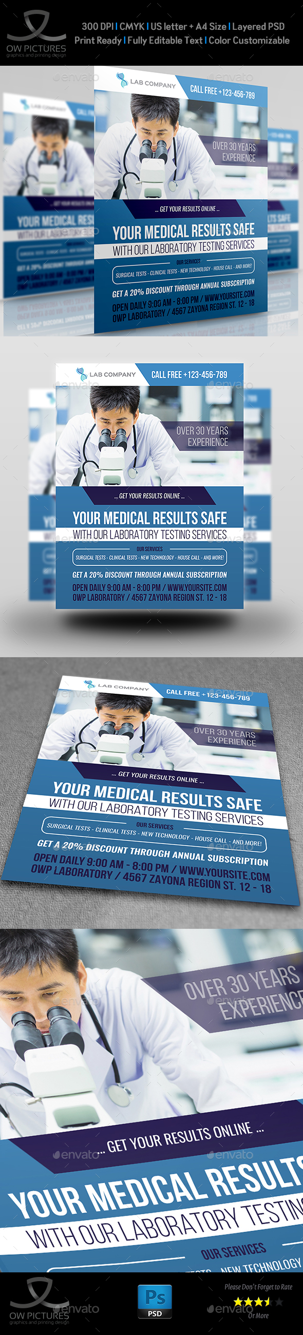 Medical Laboratory Flyer Template - Flyers Print Templates
