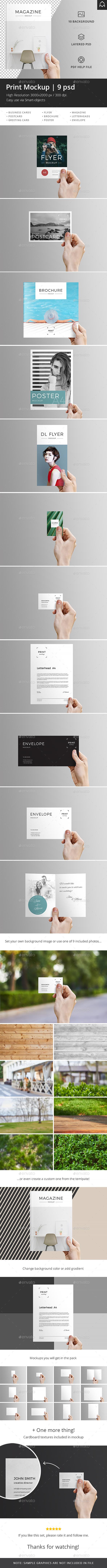 Print Mockup: Flyer, Magazine, Poster, Card - Print Product Mock-Ups