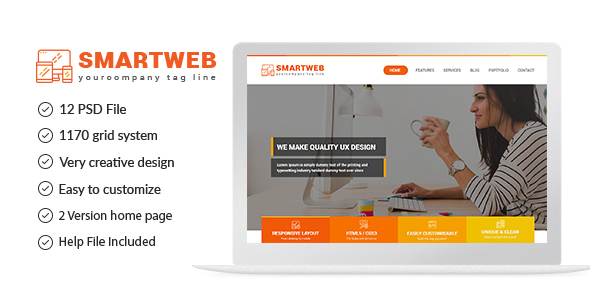 Smartweb – Freelancer Web & Graphic Agency PSD Template