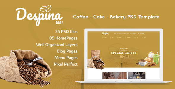 Despina - Coffee & Cake PSD Template - Restaurants & Cafes Entertainment