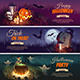 Halloween Banners with Characters on the Background - GraphicRiver Item for Sale
