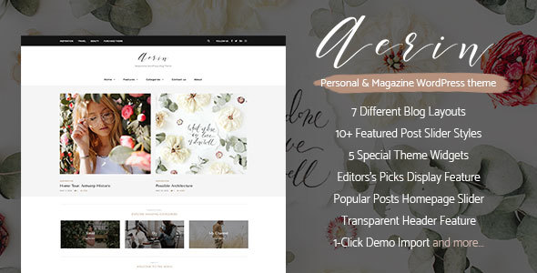 Aerin – Personal & Magazine WordPress Responsive Clean Blog Theme