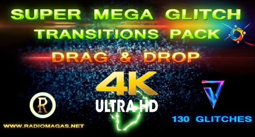 Super Mega Glitch Transitions Pack (4k UHD)