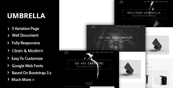 Umbrella - One Page Personal Portfolio Template - Portfolio Creative