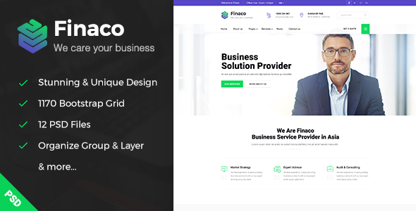 Finaco – Business & Finance PSD Template