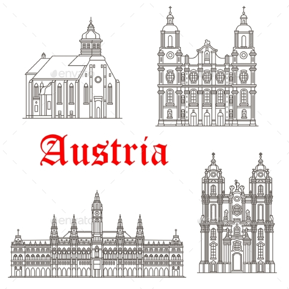 Austrian Architecture Buildings Vector Icons - Buildings Objects