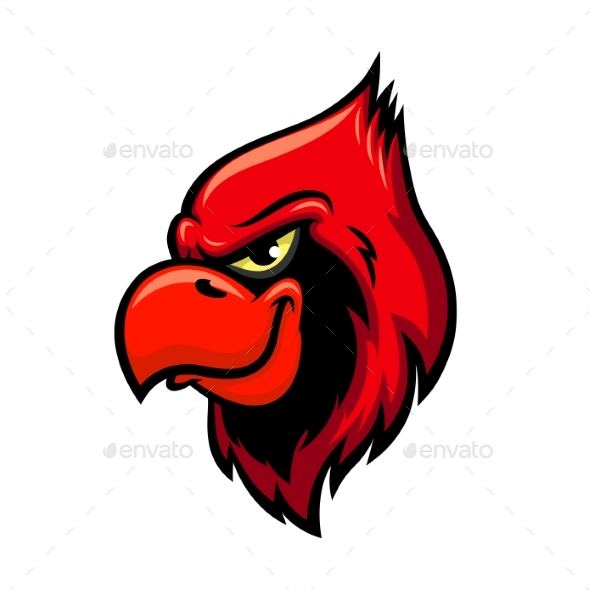 Cardinal Red Bird Head Icon - Animals Characters