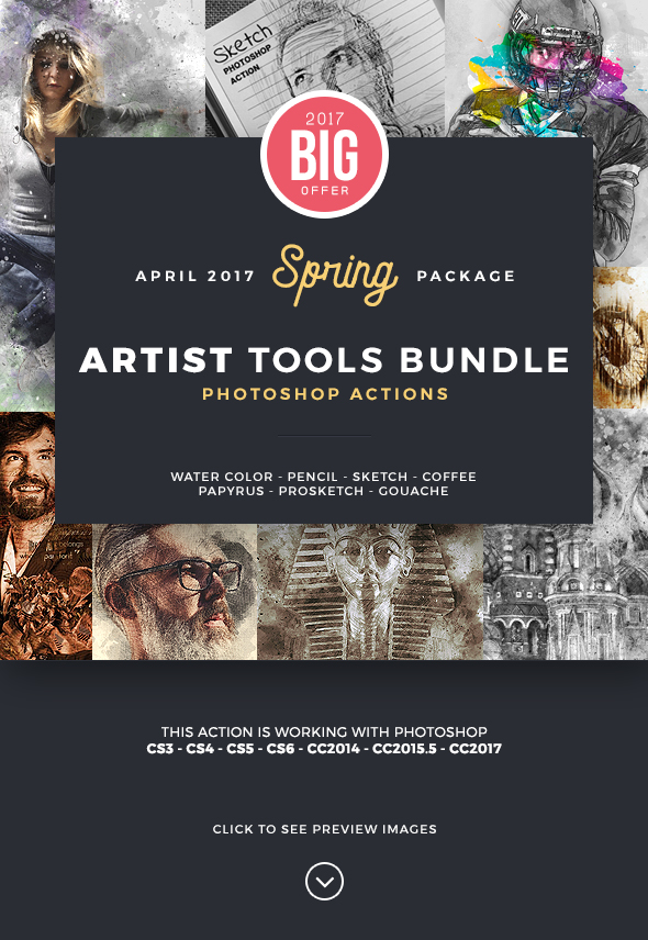 Artist Bundle Photoshop Actions - 8 in 1 - Photo Effects Actions