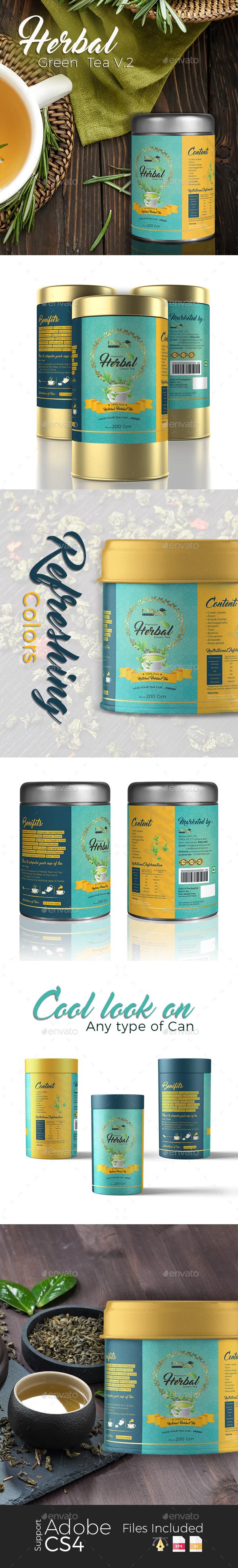 Herbal Green Tea Label V.2 - Packaging Print Templates