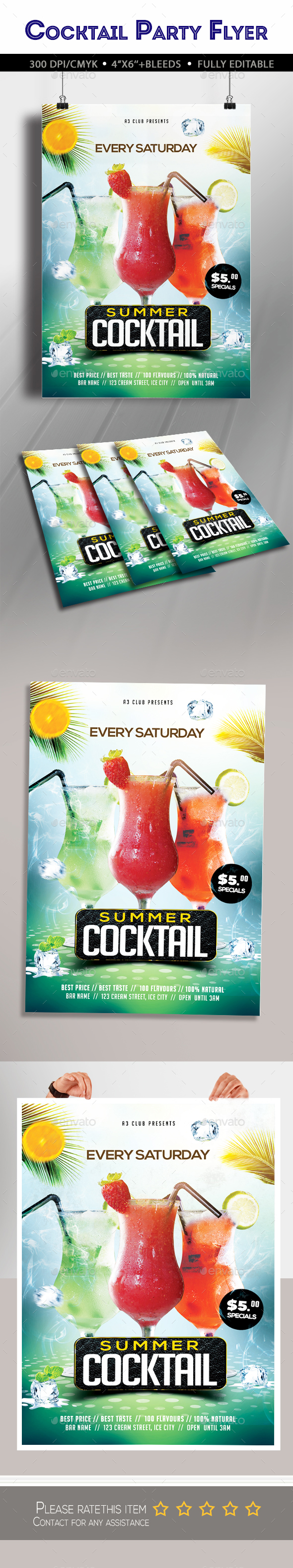 Summer Cocktail Party Flyer - Clubs & Parties Events