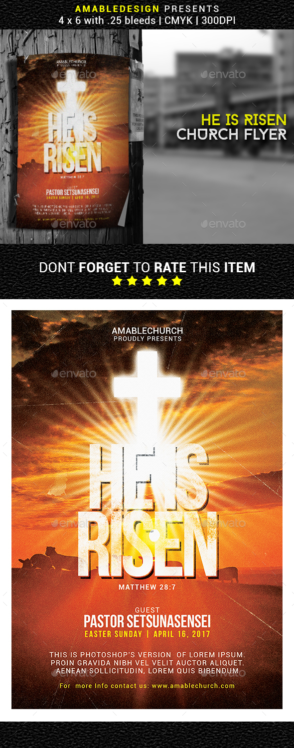 He is Risen Church Flyer - Events Flyers