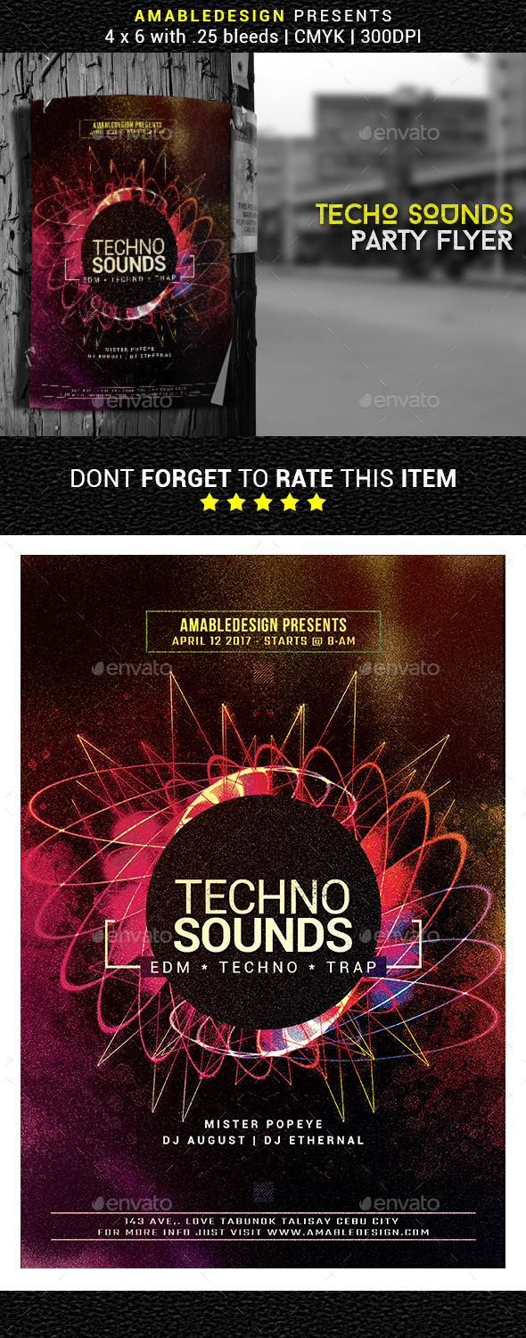 Techno Sounds Flyer - Events Flyers