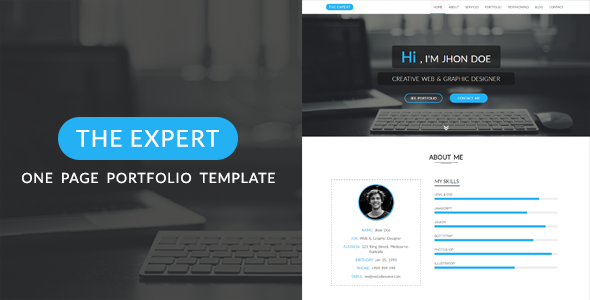 The Expert – One Page Portfolio HTML5 Template