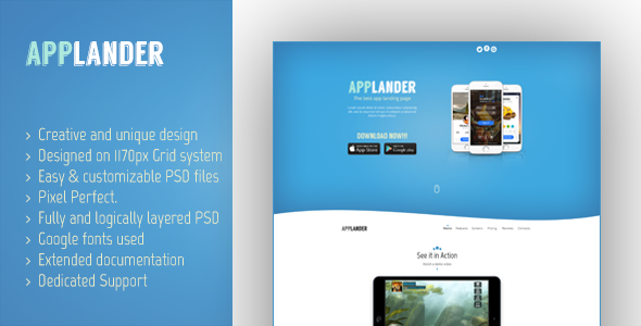 Applander – One Page App Landing PSD Template
