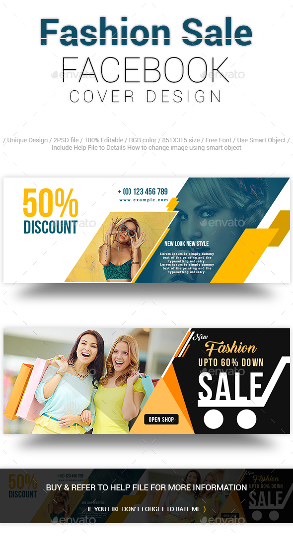 Fashion Sale Facebook Cover Design - Social Media Web Elements