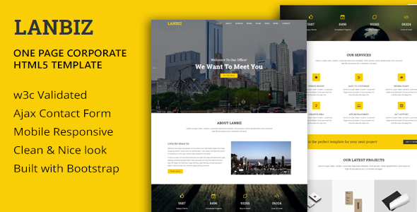 Lanbiz - One Page Corporate Html5 Template - Business Corporate