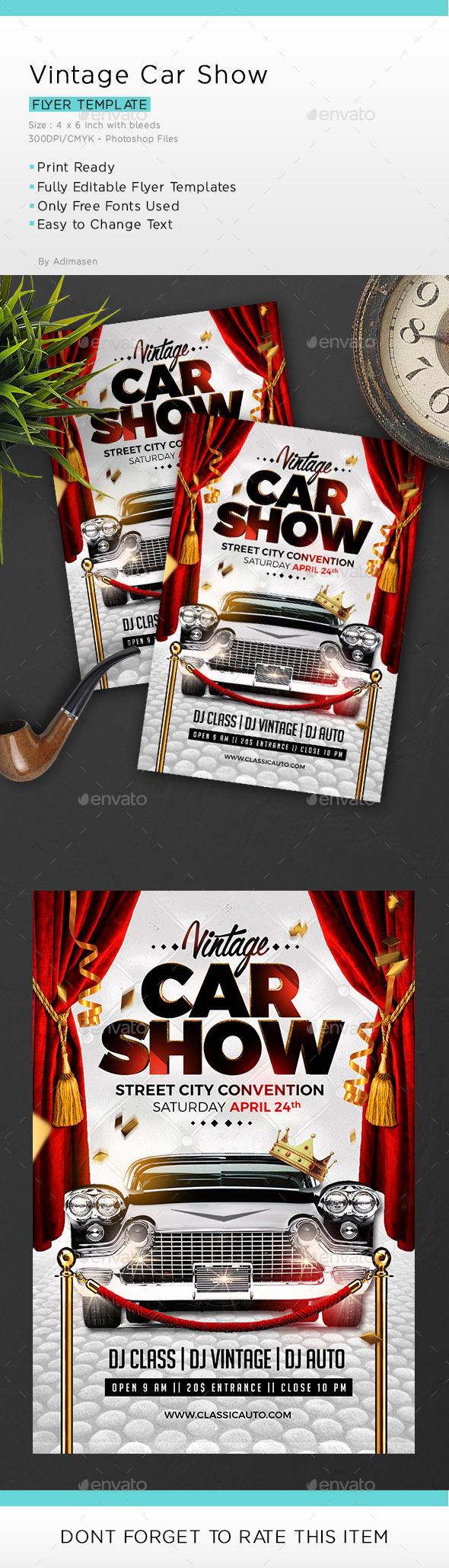 Vintage Car Show - Events Flyers