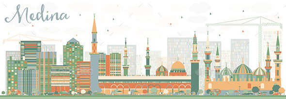 Abstract Medina Skyline with Color Buildings - Buildings Objects