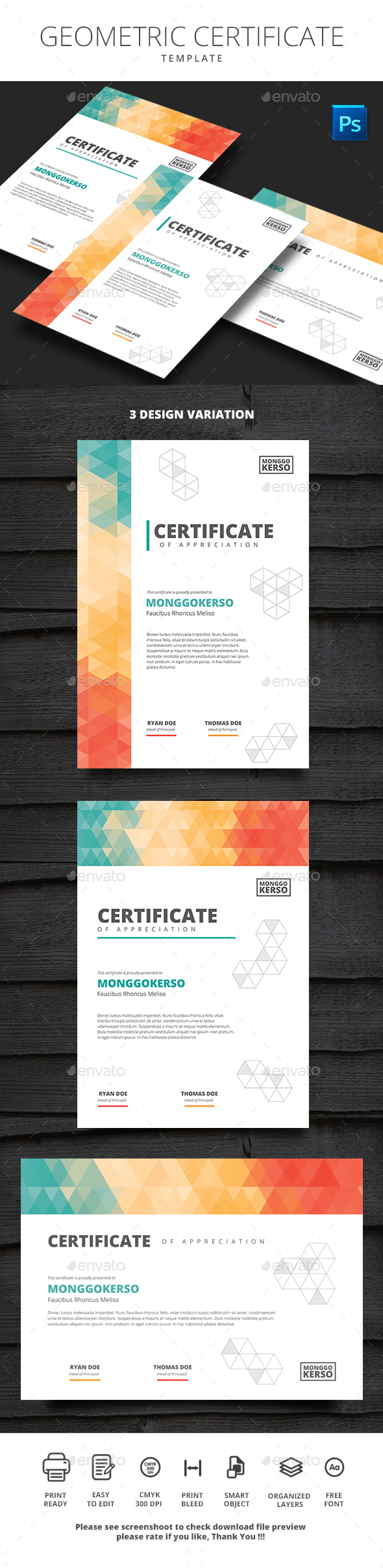 Geometric Certificate - Certificates Stationery