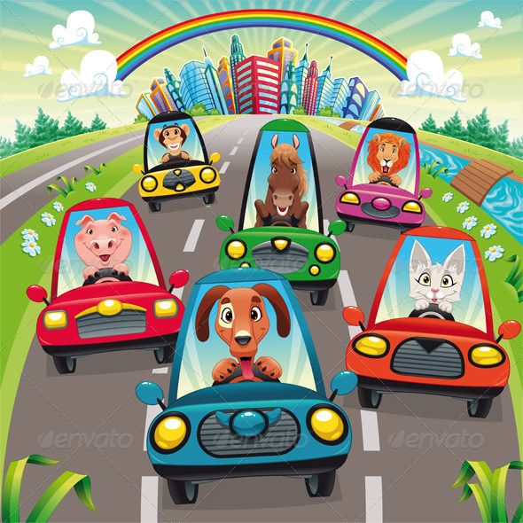 Traffic on the road. - Animals Characters