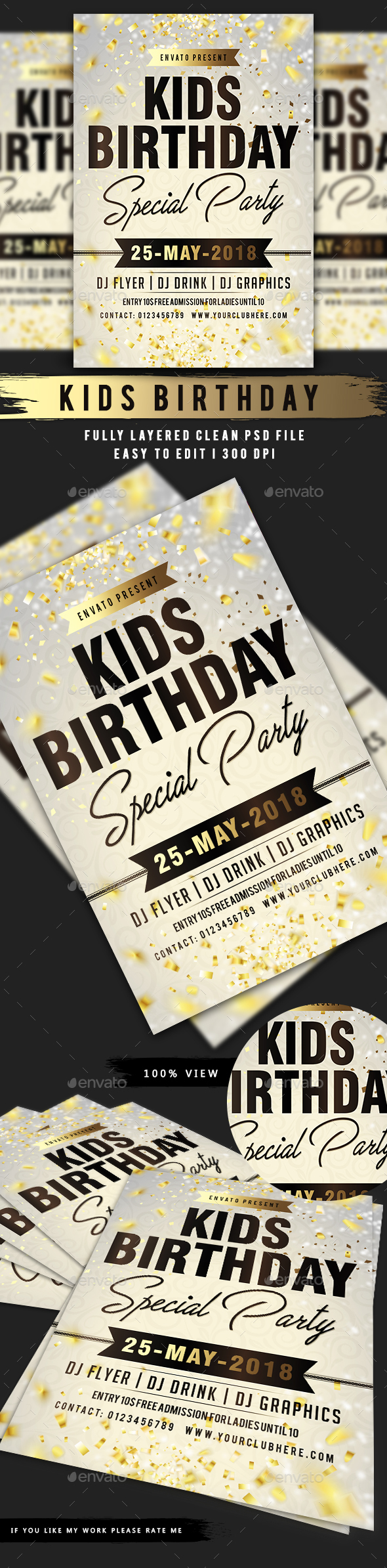 Kids Birthday Party Flyer - Events Flyers