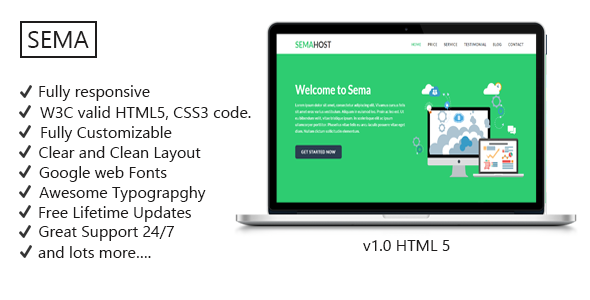 SemaHost – One Page Hosting Landing page Template