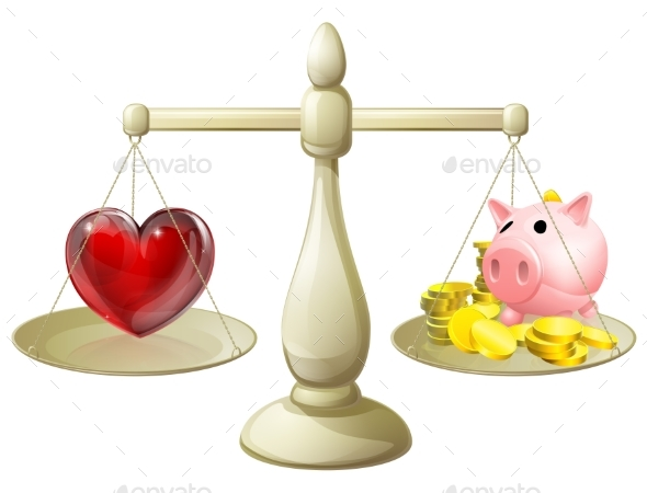 Love or Money Balance Concept - People Characters
