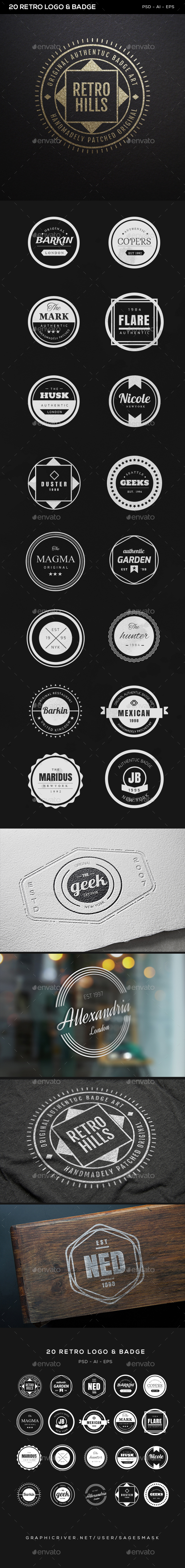 20 Retro Logo & Badge - Badges & Stickers Web Elements