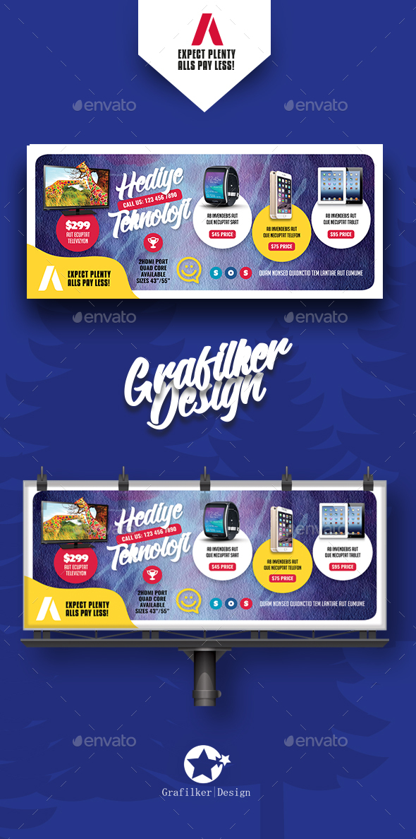 Technology Shop Billboard Templates - Signage Print Templates