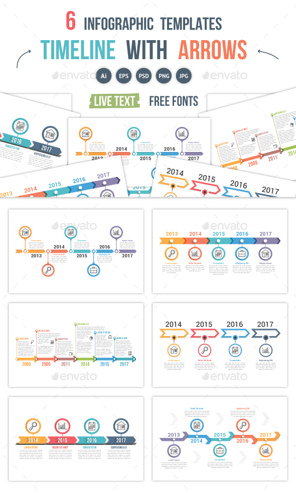 Timelines with Arrows - Infographics