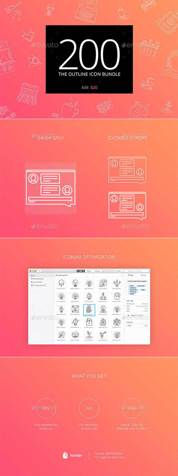 The Outline Icon Bundle 200 part 1 - Web Icons