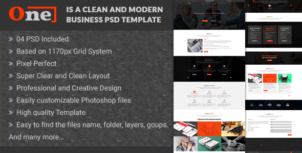 One – Multipurpose Corporate Business PSD Template