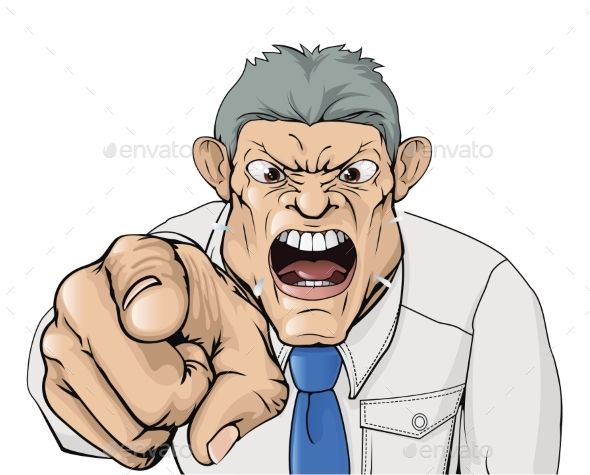 Bullying Boss Shouting and Pointing - People Characters