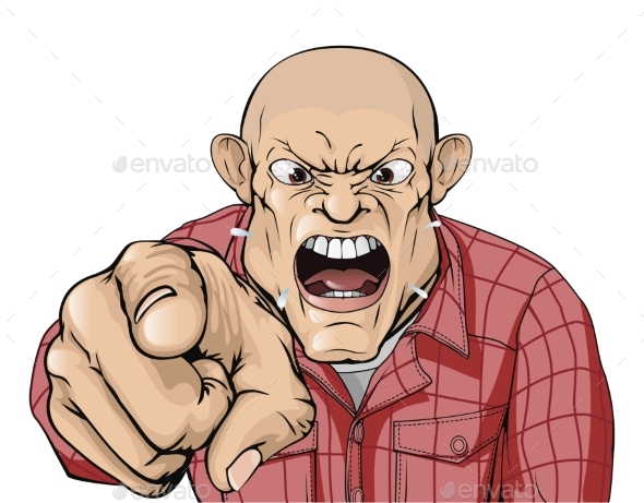 Angry Man with Shaved Head Shouting and Pointing - People Characters