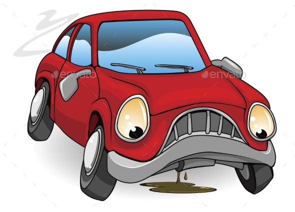 Broken Down Cartoon Car - Miscellaneous Vectors